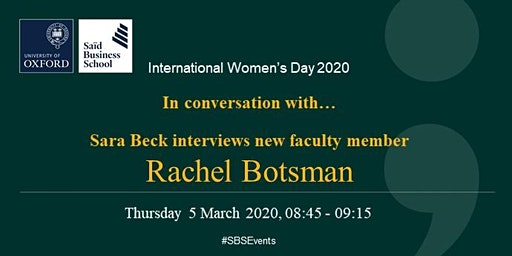 International Women's Day 2020 - Breakfast Faculty Interview - Rachel Botsman and Sara Beck
