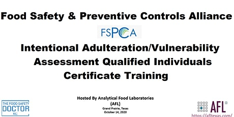 Food Defense Qualified Individuals FSPCA (IAVA-QI) Certificate Training: Grand Prairie, Tx  tickets