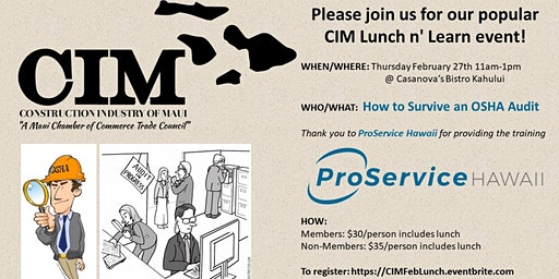 CIM Lunch & Learn, Thursday Feb 27th 11am-1pm