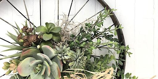 Faux Succulent Bicycle Wheel Wreath