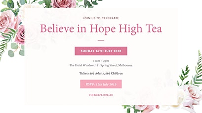 Believe in Hope ~ High Tea 2020 tickets