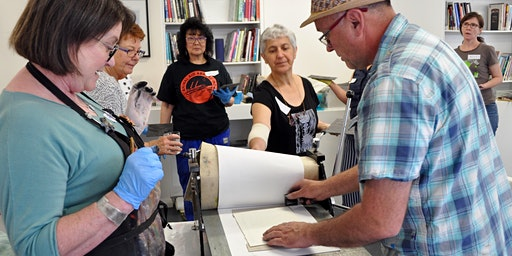 Collage printmaking with artists James Parker and John Whitney