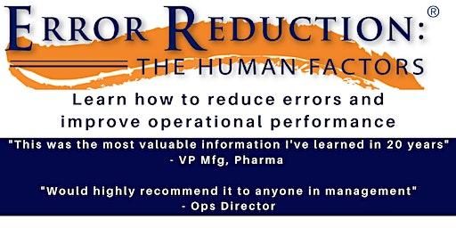 Human Error Reduction - Introduction Seminar - CHRISTCHURCH