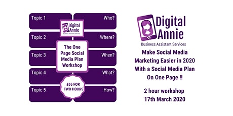 Social Media Plan on a Page (Tues 17th March 2020) tickets