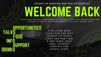 Kirkcaldy Welcome Back Event for 1st Year Nursing Students
