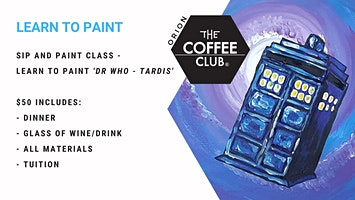 Orion Springfield - Sip 'n' learn to paint Dr Who 'Tardis'