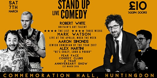 Stand up Comedy with Headliners Robert White & Mark Watson