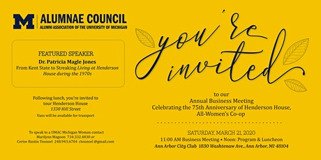 University of Michigan Alumnae Council Annual Business Meeting tickets
