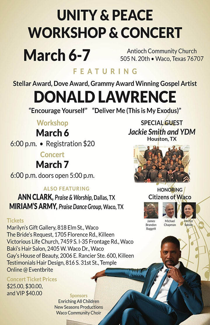 Unity and Peace Concert featuring  Gospel Artist Donald Lawrence image