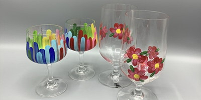 Enamel- Painted Wine Glasses or Bowls