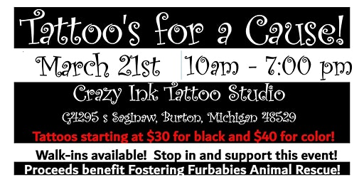 Tattoo Fundraiser with Crazy Ink Tattoo Studio! March 21st!