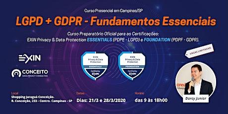 CURSO LGPD + GDPR - FUNDAMENTOS ESSENCIAIS EM CAMPINAS TURMA MAR/20 ingressos