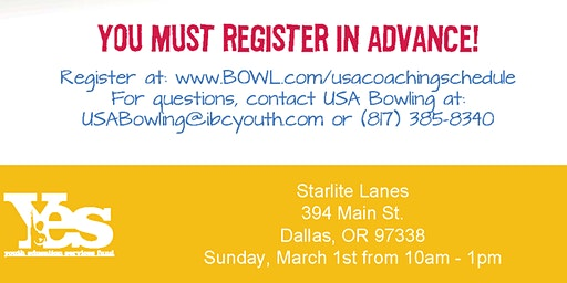FREE USA Bowling Coach Certification Seminar - Starlite Lanes, Dallas, OR