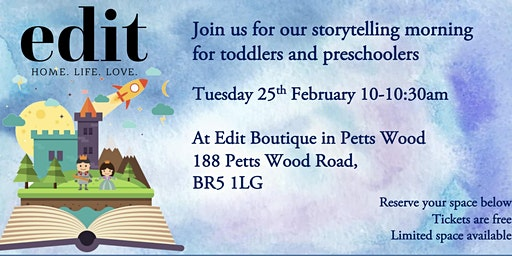 Free Story Telling Morning at Edit Boutique in Petts Wood