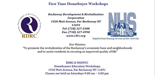 RDRC/NHSNYC In Partnership: First Time Homebuyer Workshop