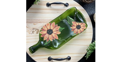 Sunflower  Slumped Wine Bottle Tray Paint Sip Wine Art Maker Class