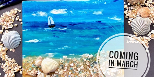 Mixed Media Resin Beach Painting