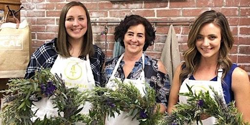 Fresh Herb and Lavender Wreath Workshop at The Vault Wine Bar