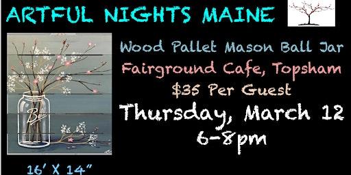 Wood Pallet Mason Jar at Fairground Cafe