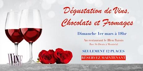 Montréal: Dégustation de vins, Chocolats et Fromages billets