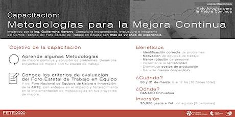 Capacitación en Metodologías de Mejora Continua [FETE 2020] boletos