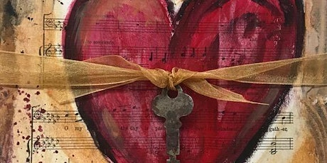 Decoupage painted heart tickets