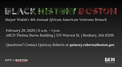 Mayor Walsh's 4th Annual African American Veteran  Appreciation Brunch tickets