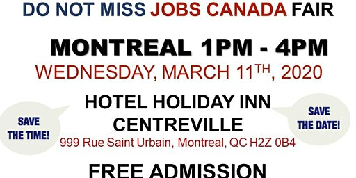 Montreal Job Fair – March 11th, 2020
