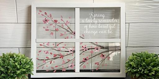 Spring Window Cherry Blossom Art Paint Sip Maker Class