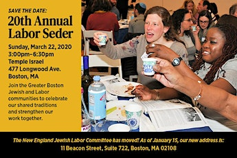New England Jewish Labor Committee 20th Annual Labor Seder tickets