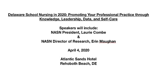 Delaware School Nursing in 2020: Promoting Your Professional Practice through Knowledge, Leadership, Data, and Self-Care