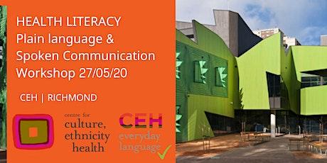 POSTPONED - Health Literacy Plain Language & Spoken Communication tickets