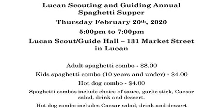 Annual Girl Guide & Scout Spaghetti Supper tickets