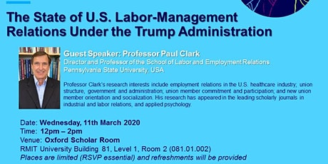 Research Seminar: The State of U.S. Labor-Management Relations Under the Trump Administration tickets