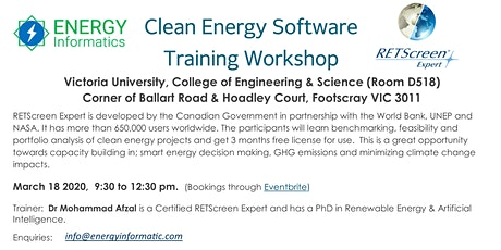 Clean Energy Software (RETScreen Expert) Training Workshop tickets