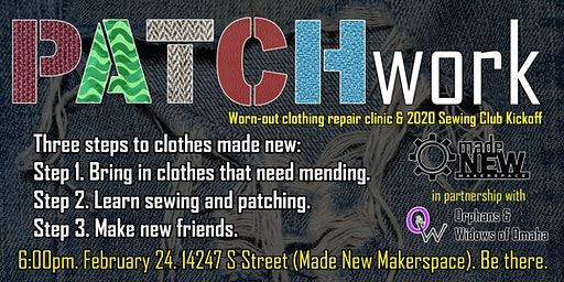 PATCHwork - Worn-out clothing patching clinic and 2020 sewing club kickoff