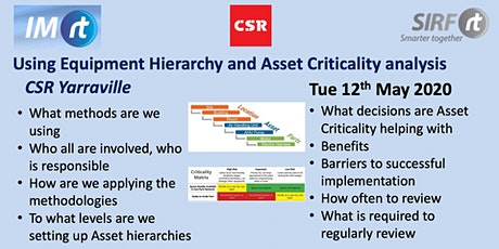 VICTAS Using Equipment Hierarchy and Asset Criticality analysis - CSR Yarraville tickets