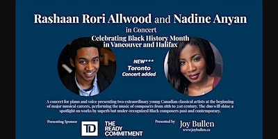 Rashaan Rori Allwood and Nadine Anyan in concert for Black History Month