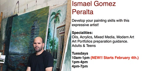 Painting & Drawing Classes with Art Teacher Ismael Gomez Peralta billets