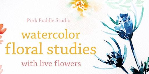Watercolor Floral Studies with Rachel Eskandari of Pink Puddle Studio