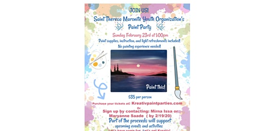 Saint Theresa Maronite Paint party - Sunday Feb. 23rd 1pm