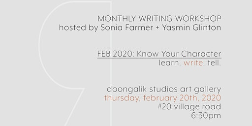 Illiterati Writing Workshop February 2020 - Know Your Character