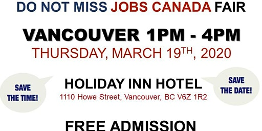 Vancouver Job Fair – March 19th, 2020