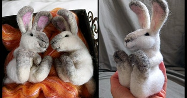 Needle Felt a Sitting Tired Bunny