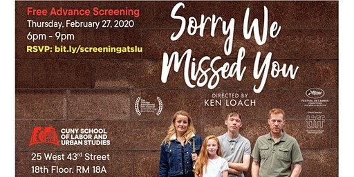 *Sorry We Missed You*  free screening of Ken Loach's new film
