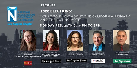 """NAHJ Los Angeles Presents: 2020 Elections """"What to Know About the California Primary & the Latino Vote"""" tickets"""