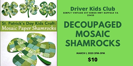 Kids Club of Driver Decoupaged Wooden Shamrock