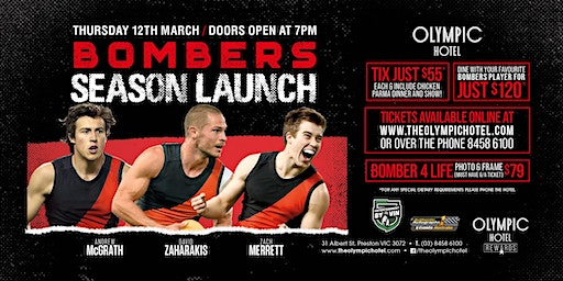 Bombers Season Launch ft McGrath, Zaharakis and Merrett at Olympic Hotel!