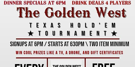 Free Texas Hold'em Poker Night at The Golden West tickets