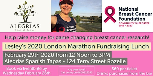 Lesley's 2020 London Marathon Fundraising Lunch